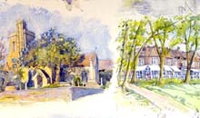 A Walk Around Barnes watercolour, 80 x 57cm
