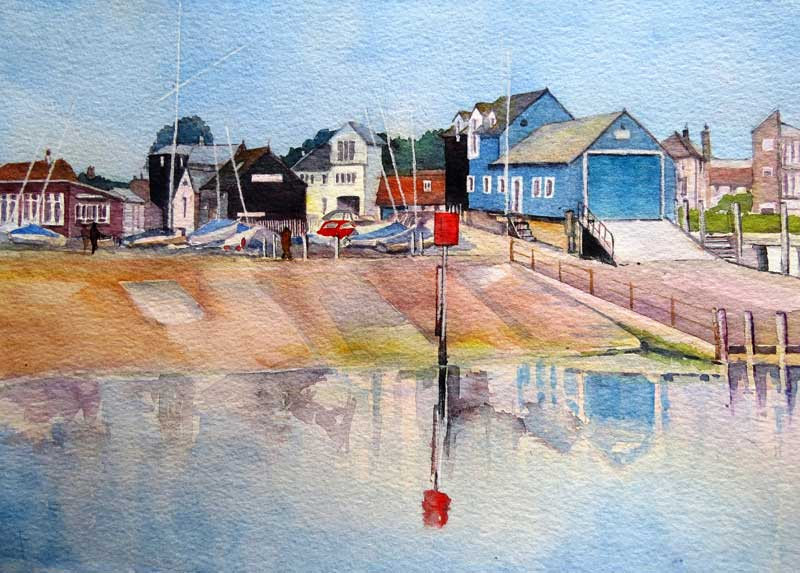 Across to the Harbour, Rye watercolour, 23 x 33cm