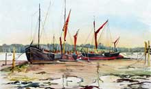 Barges at Low Tide, Pin Mill