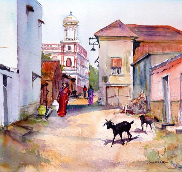 Collecting water, Chettinad watercolour, 23 x 25cm