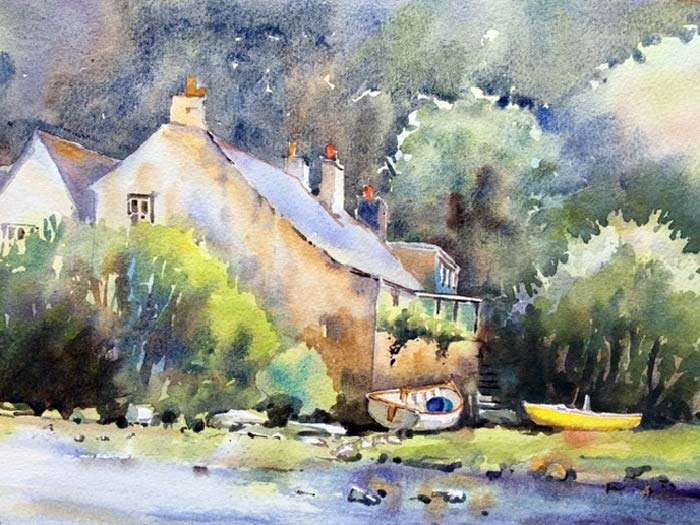 Cottage on the River watercolour, 21 x 30cm