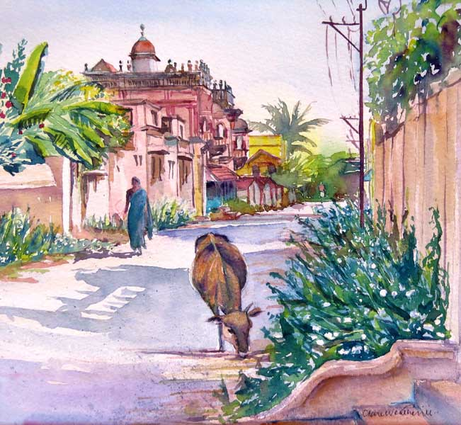 Early Morning, Chettinad watercolour, 23 x 25cm