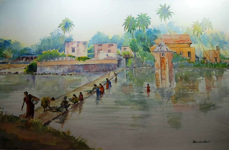 Early Morning, Thanjavur watercolour, 36 x 55cm