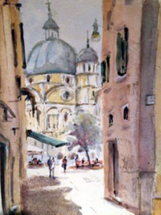Evening Light on San Cansiano, watercolour, 36 x 26cm