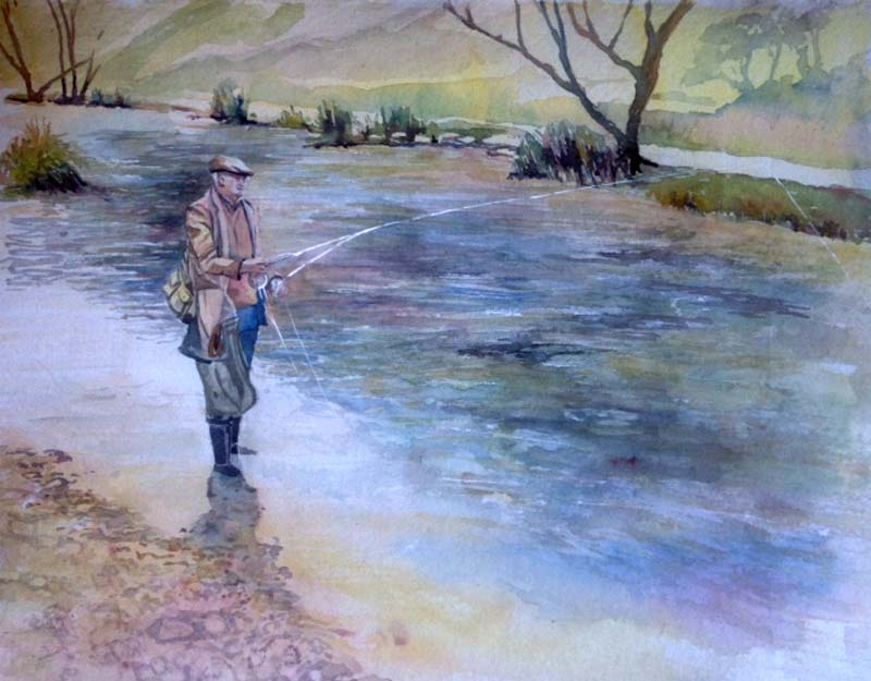 Fishing in a tweed coat! watercolour 36x56cm