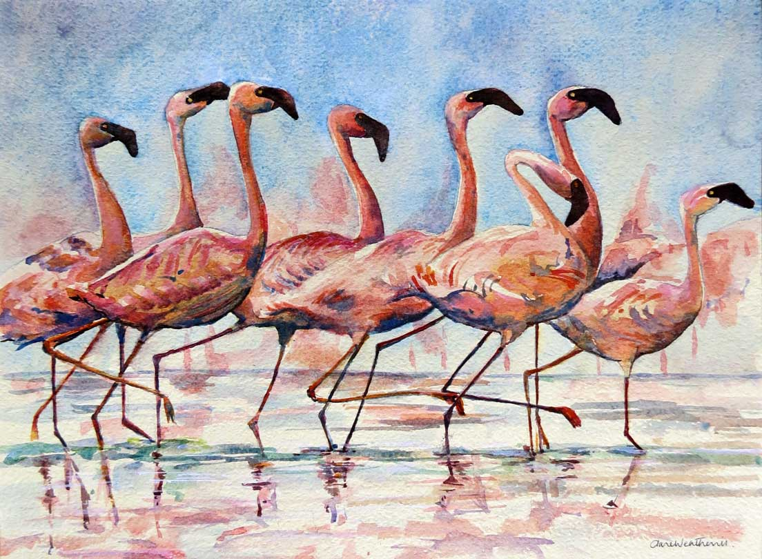 Flamingos on Parade watercolour, 53 x 64cm