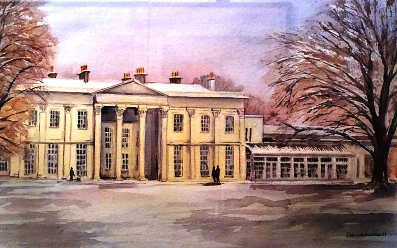 Hurlingham in the Snow watercolour, 50 x 65cm