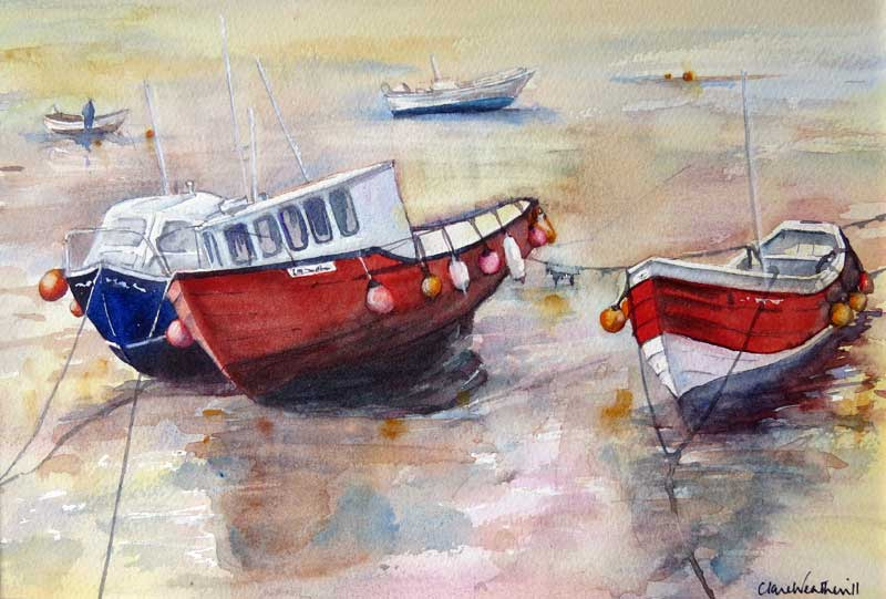 Incoming Tide watercolour, framed 32 x 42cm