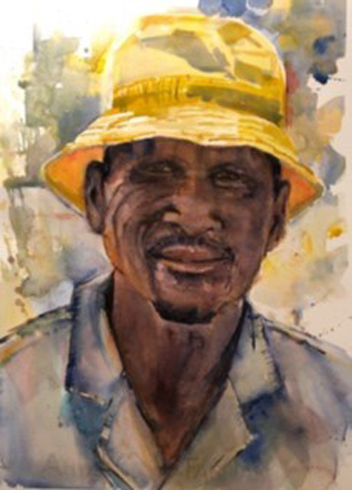 Man in a Yellow hat, watercolour, 58 x 53cm