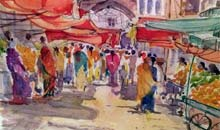 Market Place, Rajasthan watercolour, 40 x 30cm