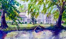 Morden Hall watercolour, 33 x 54cm