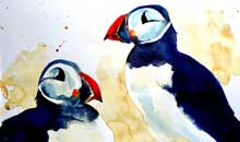 Puffin Love watercolour, 28 x 38cm