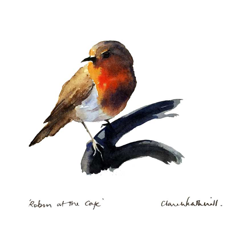 Robin at the café watercolour, 12 x 12cm