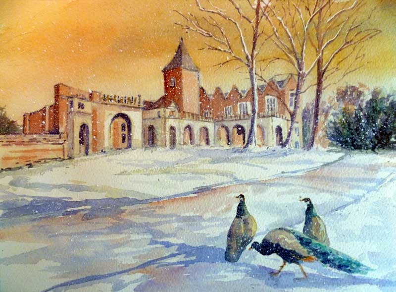 Snow at Holland Park watercolour