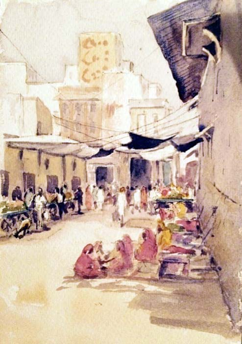 Street Sellers, Nagaur, Rajasthan watercolour, 18 x 26cm