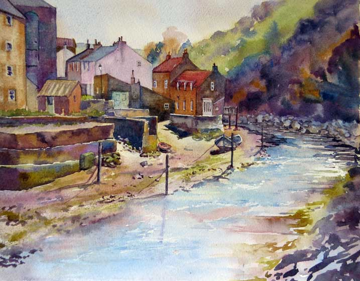 The Beck, Staithes watercolour, 42 x 50cm
