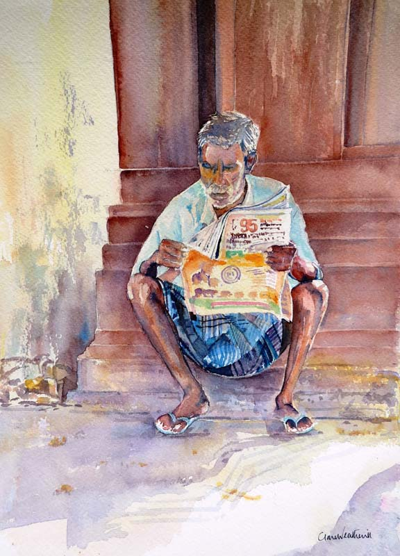 The Morning Paper watercolour, 36 x 27cm
