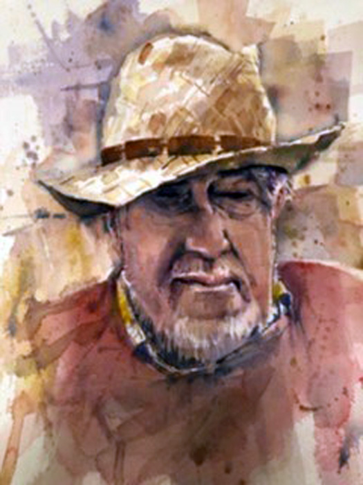The Old Hat, watercolour, 58 x 53cm