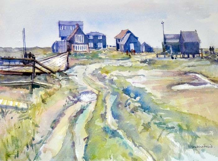 The River Path, Walberswick watercolour, 27 x 37cm