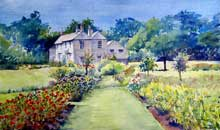 The Rose Garden and Morden Cottage watercolour, 33 x 51cm