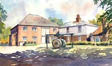The Snuff Mill watercolour, 26 x 37cm