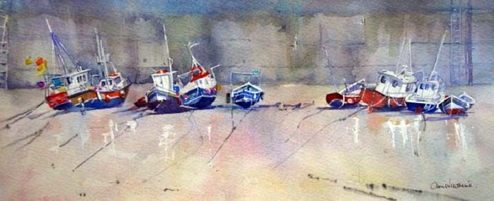 Waiting for the Tide, Staithes watercolour, 18 x 45cm