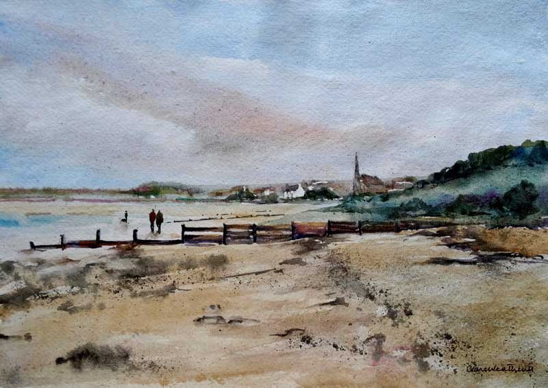 Walking to Alnmouth watercolour, 25 x 36cm