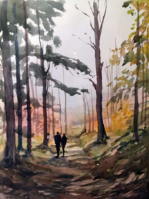 Woodland Walk watercolour, 32 x 24cm