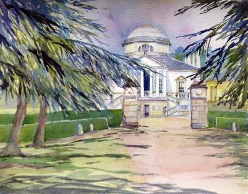 Chiswick House watercolour, framed, 40x50cm