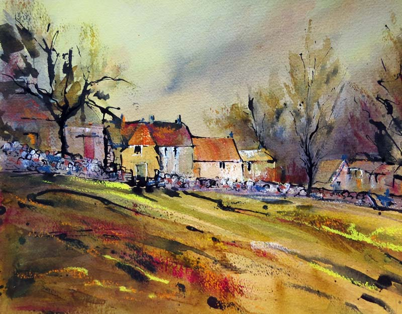 Cotswold Hamlet ink & watercolour, framed, 44x52cm