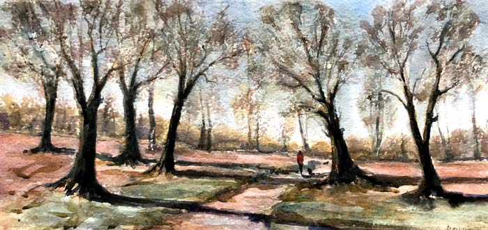 Winters Day, Richmond Park, 40 x 80